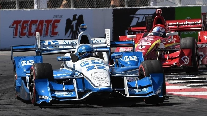 2016 Toyota Grand Prix of Long Beach winner Simon Pagenaud, 22, and second place finisher Scott Dixon, 9, race during the 42nd Toyota Grand Prix of Long Beach, Sunday April 17, 2016 in Long Beach, Cailf. (Stephen Carr / Daily Breeze via AP)