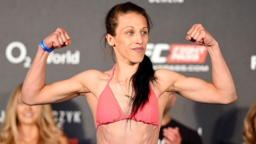 BERLIN, GERMANY - JUNE 19: UFC women's strawweight champion Joanna Jedrzejczyk of Poland weighs in during the UFC Berlin weigh-in at the O2 World on June 19, 2015 in Berlin, Germany. (Photo by Josh Hedges/Zuffa LLC/Zuffa LLC via Getty Images)