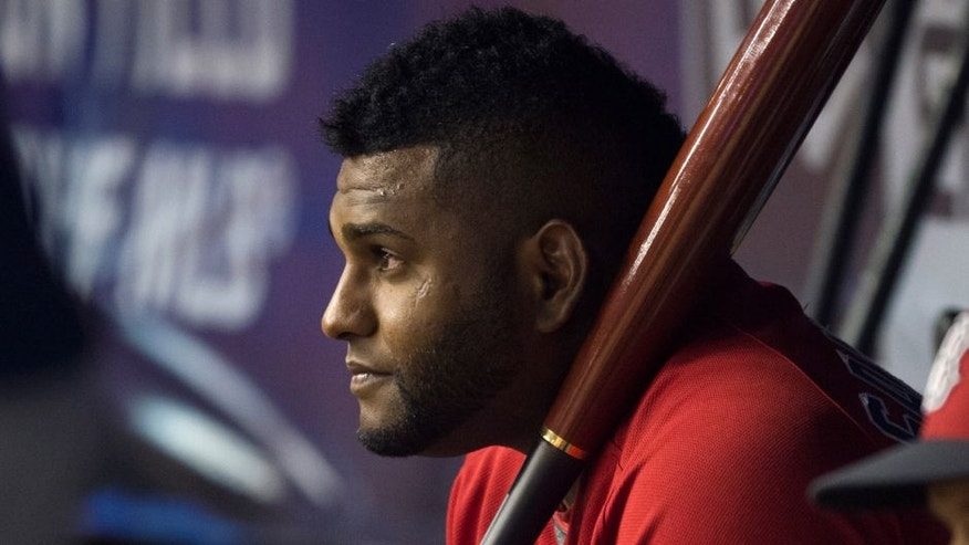 MONTREAL, QC - APRIL 1: Pablo Sandoval #48 of the Boston Red Sox watches from the bench against the Toronto Blue Jays on April 1, 2016 at Olympic Stadium in Montreal, Quebec. (Photo by Michael Ivins/Boston Red Sox/Getty Images)