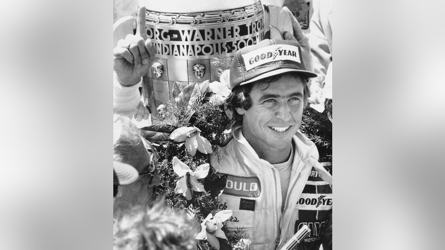 FILE - In this May 27, 1979 file photo, Rick Mears gestures after winning the Indianapolis 500 auto race at Indianapolis Motor Speedway in Indianapolis, Ind. (AP Photo/File)