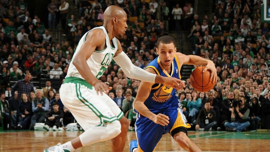BOSTON, MA - MARCH 4: Stephen Curry #30 of the Golden State Warriors drives against Ray Allen #20 of the Boston Celtics on March 4, 2011 at the TD Garden in Boston, Massachusetts. NOTE TO USER: User expressly acknowledges and agrees that, by downloading and or using this photograph, User is consenting to the terms and conditions of the Getty Images License Agreement. Mandatory Copyright Notice: Copyright 2011 NBAE (Photo by Brian Babineau/NBAE via Getty Images)