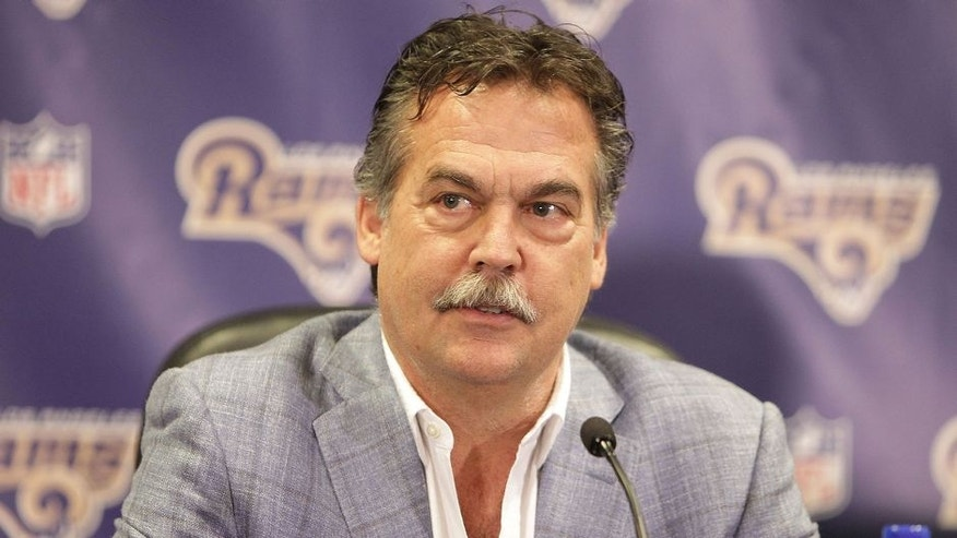 <p>MANHATTAN BEACH, CA - MARCH 04: Coach Jeff Fisher of the Los Angeles Rams attends the Los Angeles Rams Media Availability on March 4, 2016 in Manhattan Beach, California. (Photo by Leon Bennett/Getty Images)</p>