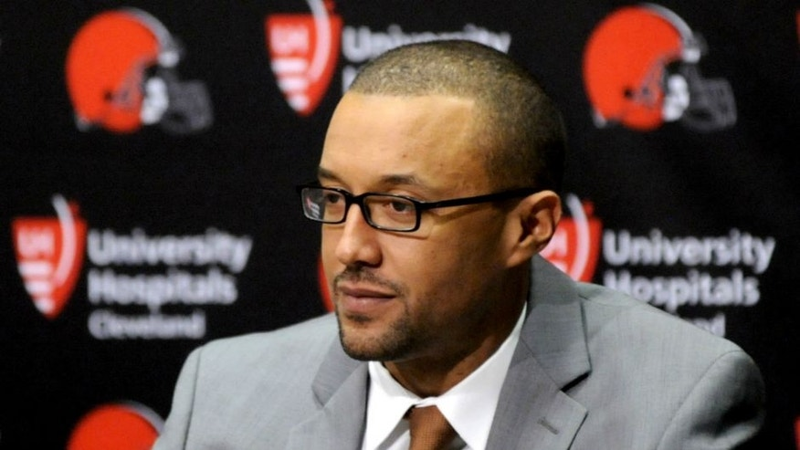 <p>BEREA, OH - JANUARY 13, 2016: Executive vice president of football operations Sashi Brown of the Cleveland Browns listens to questions during an introductory press conference on January 13, 2016 at the Cleveland Browns training facility in Berea, Ohio. (Photo by Nick Cammett/Diamond Images/Getty Images) *** Local Caption *** Sashi Brown,BEREA, OH - JANUARY 13, 2016: Executive vice president of football operations Sashi Brown of the Cleveland Browns listens to questions during an introductory press conference on January 13, 2016 at the Cleveland Browns training facility in Berea, Ohio. (Photo by Nick Cammett/Diamond Images/Getty Images)</p>
