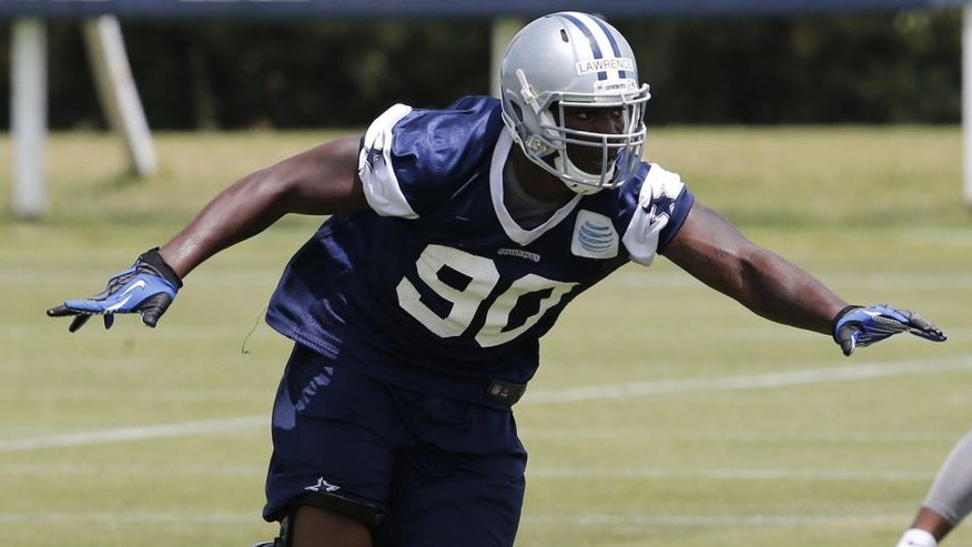 Jun 17, 2014; Dallas, TX, USA; Dallas Cowboys rookie defensive end DeMarcus Lawrence (90) during minicamp at Cowboys headquarters at Valley Ranch. Mandatory Credit: Matthew Emmons-USA TODAY Sports