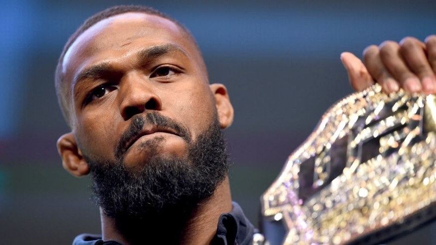 LAS VEGAS, NV - MARCH 04: Former UFC light heavyweight champion Jon Jones interacts with media during the UFC Unstoppable launch press conference at the MGM Grand Garden Arena on March 4, 2016 in Las Vegas, Nevada. (Photo by Josh Hedges/Zuffa LLC/Zuffa LLC via Getty Images)