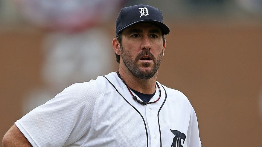 <p>DETROIT, MI - APRIL 11: Justin Verlander #35 of the Detroit Tigers looks into home plate during the sixth inning of the inter-league game against the Pittsburgh Pirates on April 11, 2016 at Comerica Park, Detroit, Michigan. The Pirates defeated the Tigers 7-4. (Photo by Leon Halip/Getty Images)</p>