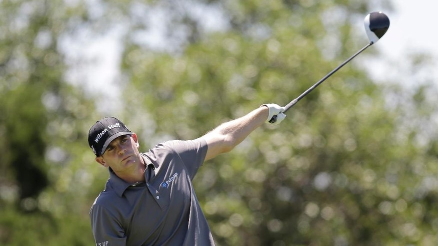 Brendan Steele signals that his drive on the went left on the 15th hole during the second round of the Texas Open golf tournament, Friday, April 22, 2016, in San Antonio. (AP Photo/Eric Gay)