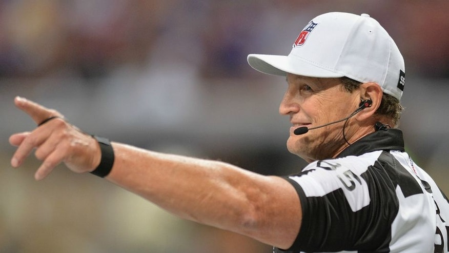 ST. LOUIS, MO - SEPTEMBER 7: Referee Ed Hochuli #85 calls the game between the St. Louis Rams and the Minnesota Vikings at the Edward Jones Dome on September 7, 2014 in St. Louis, Missouri. (Photo by Michael B. Thomas/Getty Images)