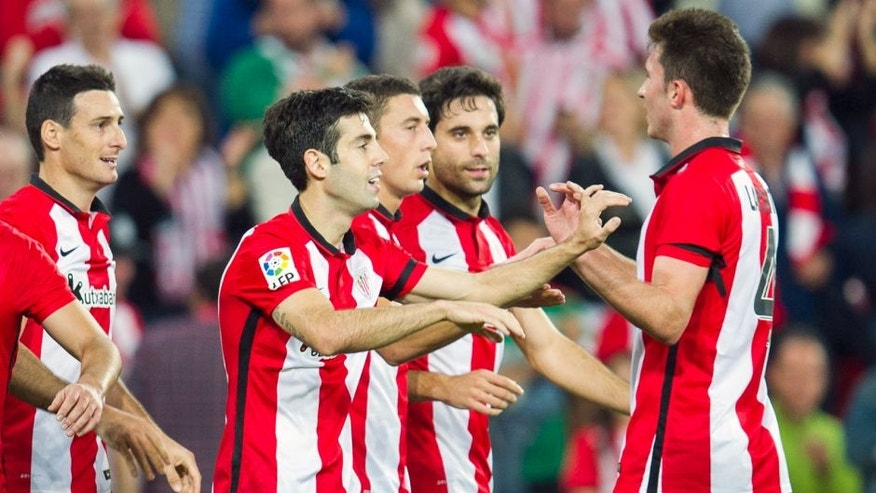 BILBAO, SPAIN - OCTOBER 26: Markel Susaeta of Athletic Club celebrates after scoring during the La Liga match between Athletic Club and Real Sporting de Gijon at San Mames Stadium on October 26, 2015 in Bilbao, Spain. (Photo by Juan Manuel Serrano Arce/Getty Images)
