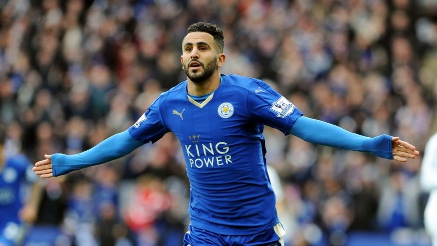 LEICESTER, ENGLAND - APRIL 24 : Riyad Mahrez of Leicester City celebrates after scoring to make it 1-0 during the Barclays Premier League match between Leicester City and Swansea City at the King Power Stadium on April 24 , 2016 in Leicester, United Kingdom. (Photo by Plumb Images/Leicester City FC via Getty Images)
