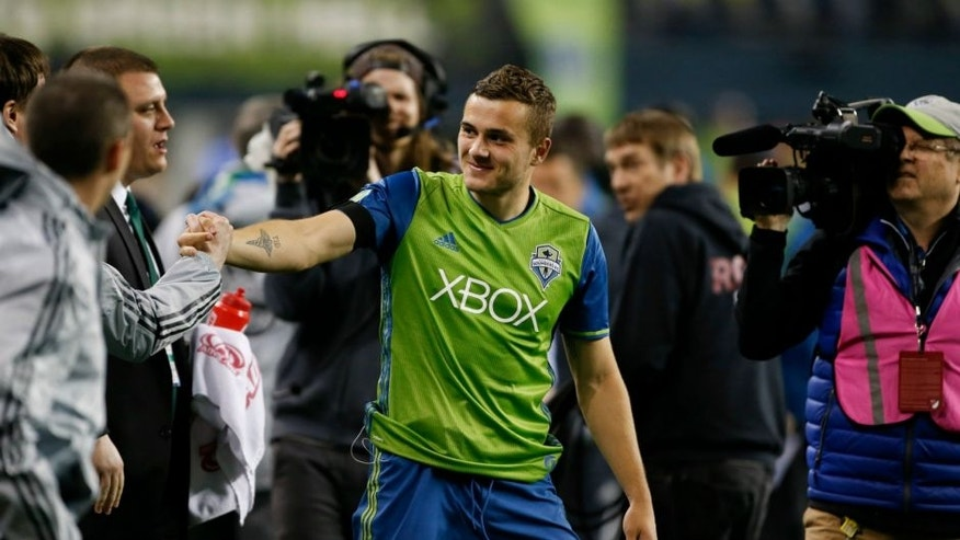 Apr 16, 2016; Seattle, WA, USA; Seattle Sounders forward Jordan Morris (13) smiles after a game against the Philadelphia Union at CenturyLink Field. Morris had his first career goal and Seattle won 2-1. Mandatory Credit: Jennifer Buchanan-USA TODAY Sports