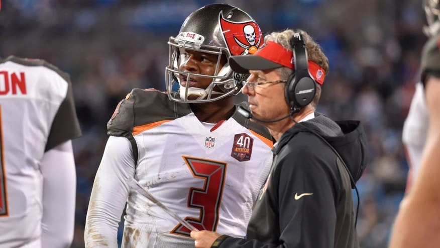 Jan 3, 2016; Charlotte, NC, USA; Tampa Bay Buccaneers quarterback Jameis Winston (3) with offensive coordinator Dirk Koetter in the fourth quarter. The Panthers defeated the Buccaneers 38-10 at Bank of America Stadium. Mandatory Credit: Bob Donnan-USA TODAY Sports