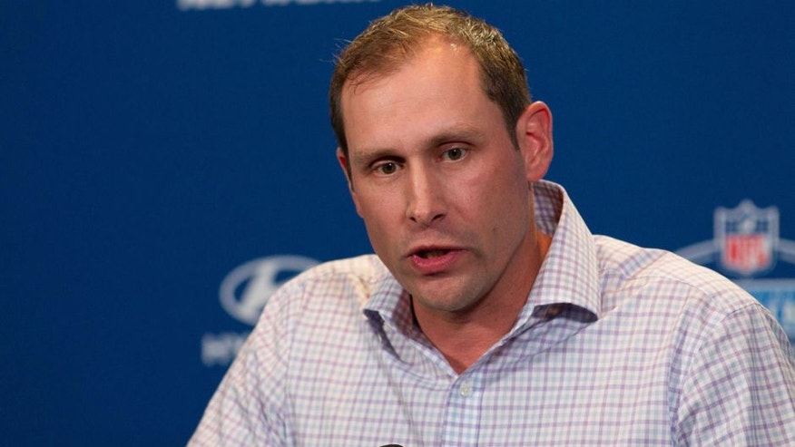 Feb 24, 2016; Indianapolis, IN, USA; Miami Dolphins head coach Adam Gase speaks to the media during the 2016 NFL Scouting Combine at Lucas Oil Stadium. Mandatory Credit: Trevor Ruszkowski-USA TODAY Sports