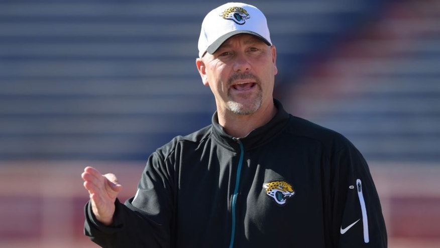 Jan 28, 2016; Mobile, AL, USA; South squad head coach Gus Bradley of the Jacksonville Jaguars gives instructions to a player during Senior Bowl practice at Ladd-Peebles Stadium. Mandatory Credit: Glenn Andrews-USA TODAY Sports