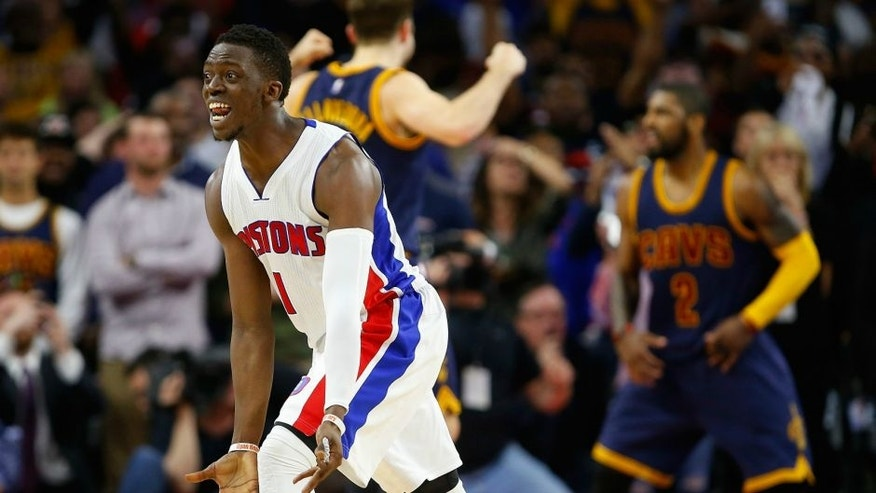 AUBURN HILLS, MI - APRIL 24: in game four of the NBA Eastern Conference quarterfinals during the 2016 NBA Playoffs at the Palace of Auburn Hills on April 24, 2016 in Auburn Hills, Michigan. NOTE TO USER: User expressly acknowledges and agrees that, by downloading and or using this photograph, User is consenting to the terms and conditions of the Getty Images License Agreement. (Photo by Gregory Shamus/Getty Images) *** Local Caption ***