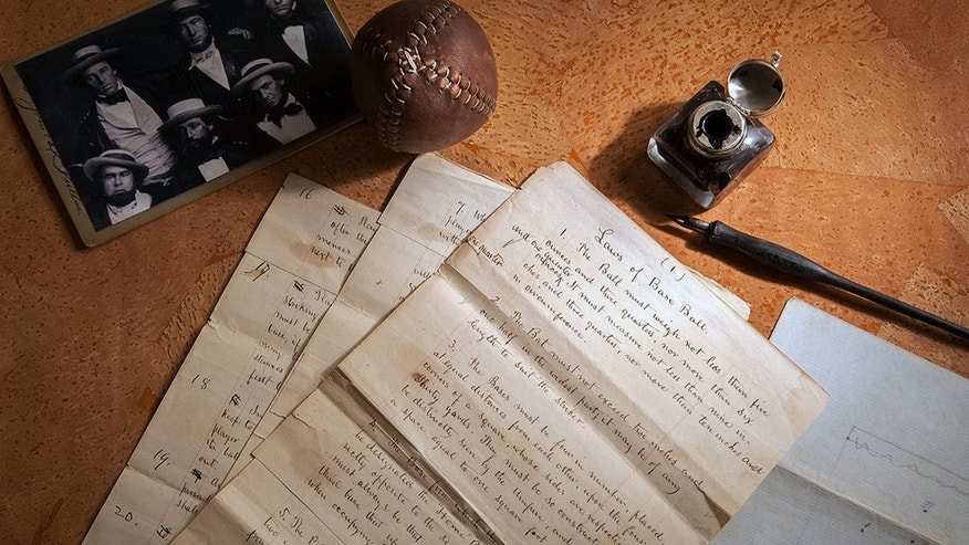 "This Feb. 11, 2016 photo provided by SCP Auctions shows the 1857 documents titled ""Laws of Base Ball."
