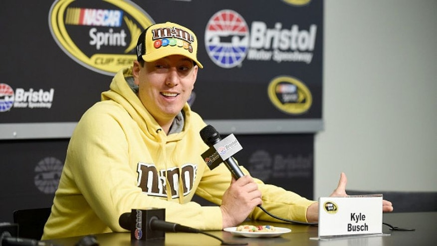 BRISTOL, TN - APRIL 15: Kyle Busch, driver of the #18 M&M's Toyota, speaks to the media during a press conference prior to practice for the NASCAR Sprint Cup Series Food City 500 at Bristol Motor Speedway on April 14, 2016 in Bristol, Tennessee. (Photo by Rainier Ehrhardt/NASCAR via Getty Images)