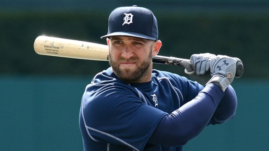 DETROIT, MICHIGAN - APRIL 08: Tyler Collins #18 of the Detroit Tigers looks on prior to the Opening Day game against the New York Yankees at Comerica Park on April 8, 2016 in Detroit, Michigan. The Tigers defeated the Yankees 4-0. (Photo by Mark Cunningham/MLB Photos via Getty Images)