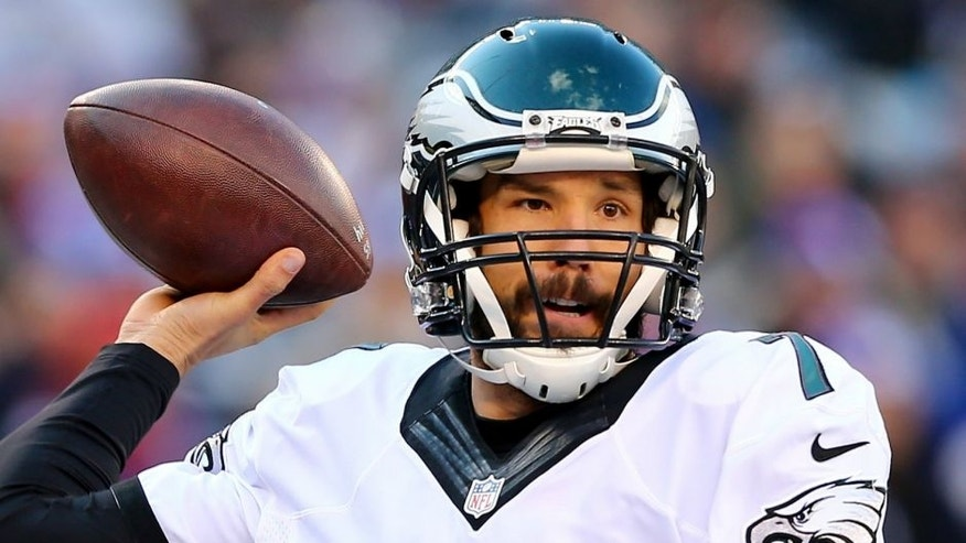 <p>during their game at MetLife Stadium on January 3, 2016 in East Rutherford, New Jersey.,EAST RUTHERFORD, NJ - JANUARY 03: Sam Bradford #7 of the Philadelphia Eagles throws the ball in the first half against the New York Giants during their game at MetLife Stadium on January 3, 2016 in East Rutherford, New Jersey. (Photo by Elsa/Getty Images)</p>