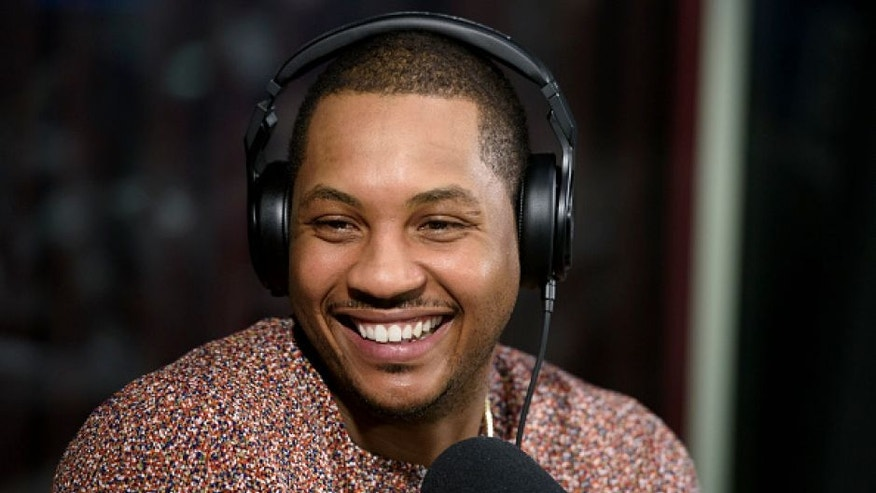 NEW YORK, NY - APRIL 28: Carmelo Anthony of the New York Knicks visits 'Sway in the Morning' with Sway Calloway on Eminem's Shade 45 at SiriusXM Studio on April 28, 2016 in New York City. (Photo by Matthew Eisman/Getty Images)