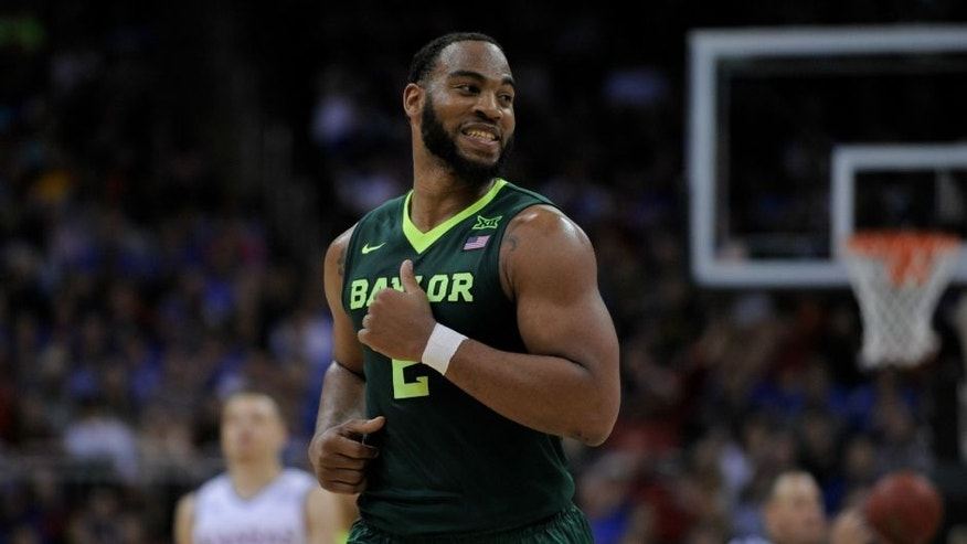 KANSAS CITY, MO - MARCH 11: Rico Gathers #2 of the Baylor Bears in action against the Kansas Jayhawks during the semifinals of the Big 12 Basketball Tournament at Sprint Center on March 11, 2016 in Kansas City, Missouri. (Photo by Ed Zurga/Getty Images) *** Local Caption *** Rico Gathers