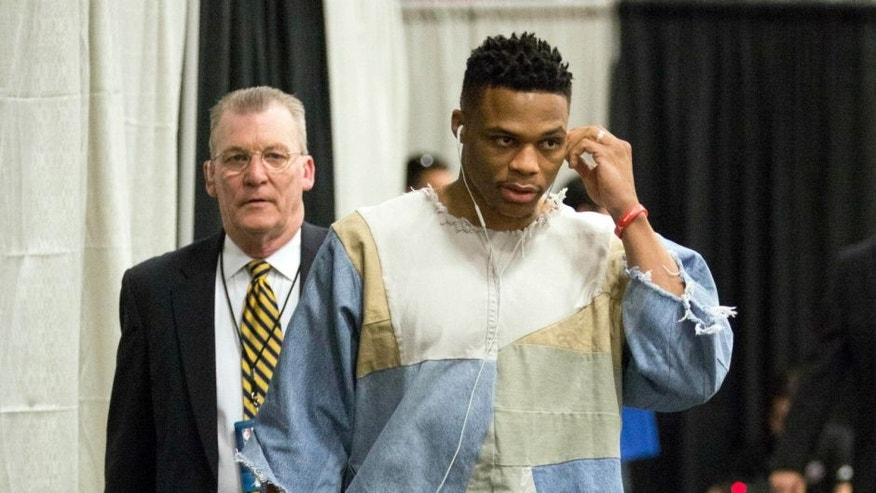 Apr 30, 2016; San Antonio, TX, USA; Oklahoma City Thunder point guard Russell Westbrook (0) arrives to to the arena before game one of the second round of the NBA Playoffs against the San Antonio Spurs at AT&T Center. Mandatory Credit: Soobum Im-USA TODAY Sports