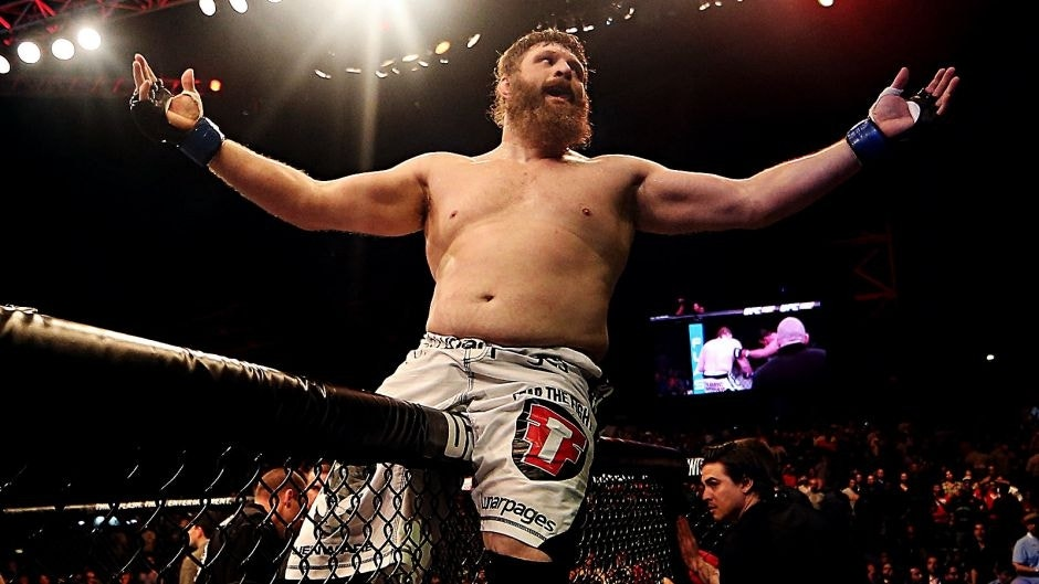 ABU DHABI, UNITED ARAB EMIRATES - APRIL 11: Roy Nelson celebrates his knockout victory against Antonio Rodrigo Nogueira in their heavyweight bout during UFC Fight Night 39 at du Arena on April 11, 2014 in Abu Dhabi, United Arab Emirates. (Photo by Warren Little/Zuffa LLC/Zuffa LLC via Getty Images)