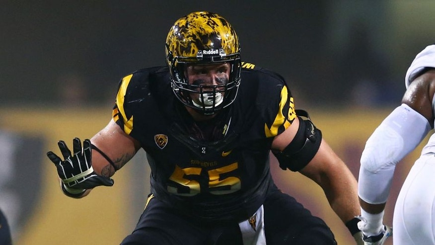 Sep 25, 2014; Tempe, AZ, USA; Arizona State Sun Devils offensive lineman Christian Westerman (55) against the UCLA Bruins at Sun Devil Stadium. UCLA defeated Arizona State 62-27. Mandatory Credit: Mark J. Rebilas-USA TODAY Sports