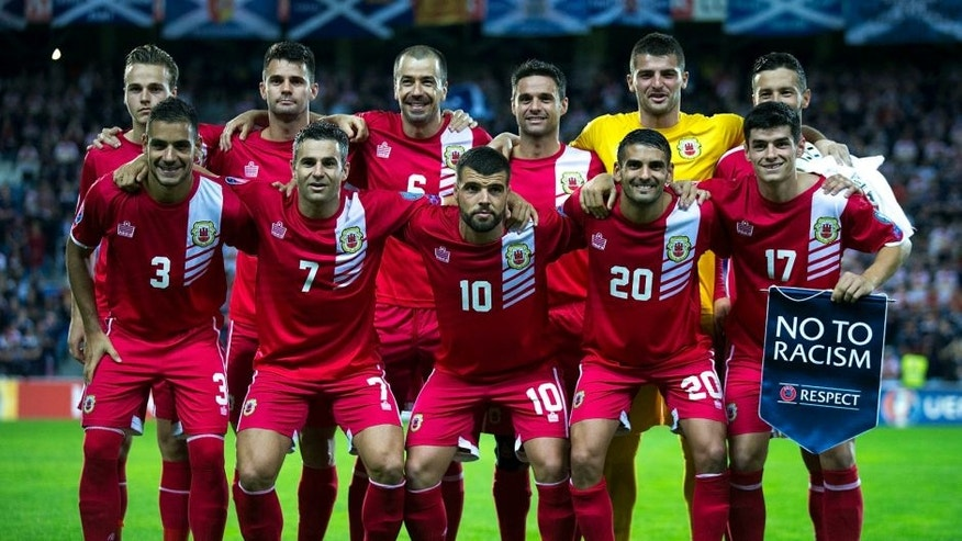 FARO, PORTUGAL - OCTOBER 11: Gibraltar line up prior to start the UEFA EURO 2016 Qualifying round Group G match between Gibraltar and Scotland at Estadio Algarve on October 11, 2015 in Faro, Portugal. (Photo by Gonzalo Arroyo Moreno/Getty Images)