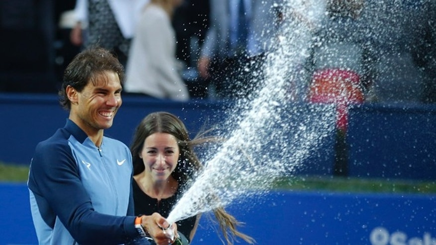 Rafael Nadal after winning the Barcelona Open tennis tournament Sunday, April 24, 2016.
