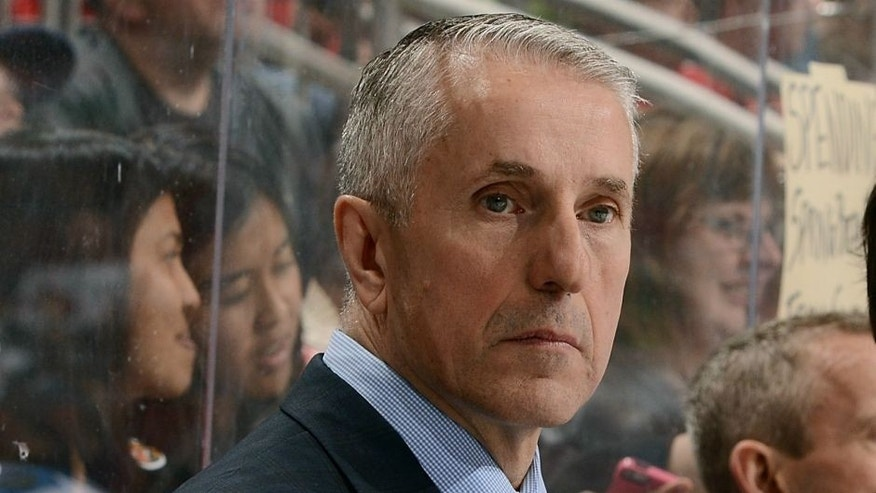 against the Calgary Flames at Gila River Arena on March 28, 2016 in Glendale, Arizona.,GLENDALE, AZ - MARCH 28: Head coach Bob Hartley of the Calgary Flames looks on from the bench during third period action against the Arizona Coyotes at Gila River Arena on March 28, 2016 in Glendale, Arizona. (Photo by Norm Hall/NHLI via Getty Images)