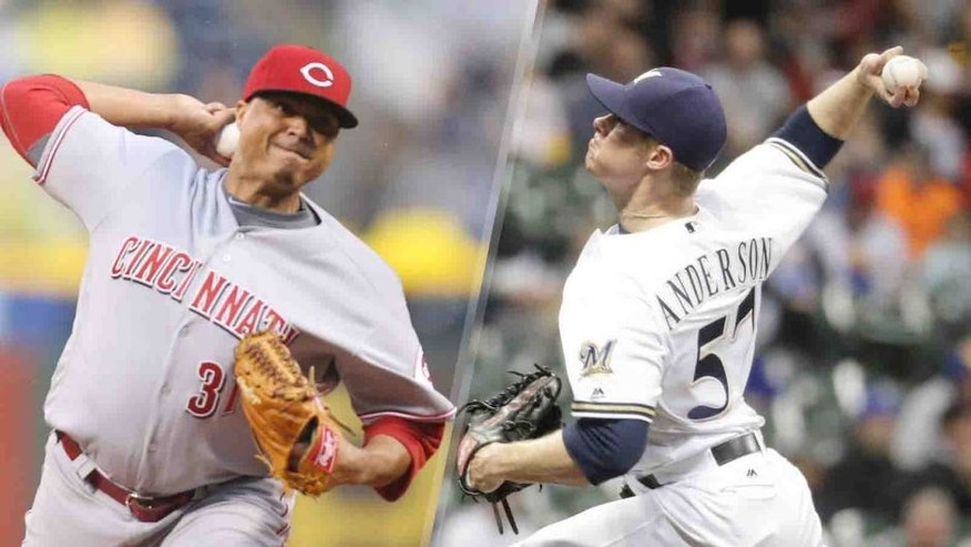 Reds starter Alfredo Simon (left) and Brewers starter Chase Anderson have both been struggling so far this season.