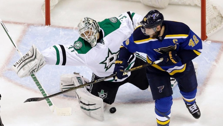 St. Louis Blues' David Backes, right, deflects a puck past Dallas Stars goalie Antti Niemi, of Finland, for a goal during the first period of Game 3 of the NHL hockey Stanley Cup Western Conference semifinals, Tuesday, May 3, 2016, in St. Louis. (AP Photo/Jeff Roberson)
