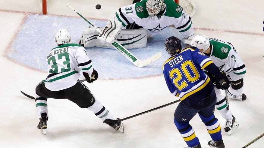 St. Louis Blues' Alexander Steen (20) scores past Dallas Stars goalie Antti Niemi, of Finland, Alex Goligoski (33) and John Klingberg, right, of Sweden, during the first period of Game 3 of the NHL hockey Stanley Cup Western Conference semifinals, Tuesday, May 3, 2016, in St. Louis. (AP Photo/Jeff Roberson)