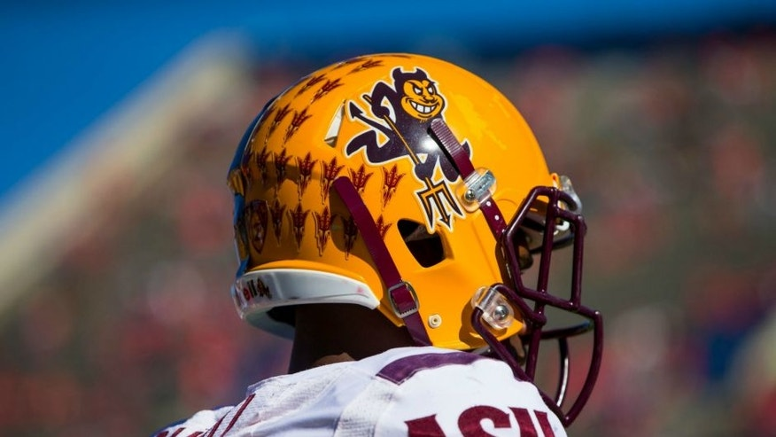 Nov 28, 2014; Tucson, AZ, USA; Detailed view of an Arizona State Sun Devils helmet against the Arizona Wildcats during the 88th annual territorial cup at Arizona Stadium. Mandatory Credit: Mark J. Rebilas-USA TODAY Sports