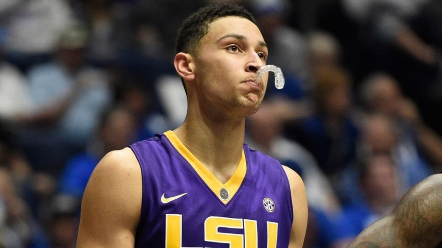 Mar 12, 2016; Nashville, TN, USA; LSU Tigers forward Ben Simmons (25) looks on after his third foul in the first half against the Texas A&M Aggies during the SEC conference tournament at Bridgestone Arena. Mandatory Credit: Christopher Hanewinckel-USA TODAY Sports