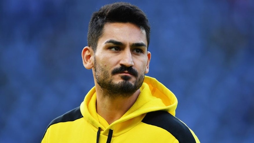 BERLIN, GERMANY - APRIL 20: Ilkay Guendogan of Dortmund looks on prior to the DFB Cup semi final match between Hertha BSC Berlin and Borussia Dortmund at Olympia Stadium on April 20, 2016 in Berlin, Germany. (Photo by Stuart Franklin/Bongarts/Getty Images)