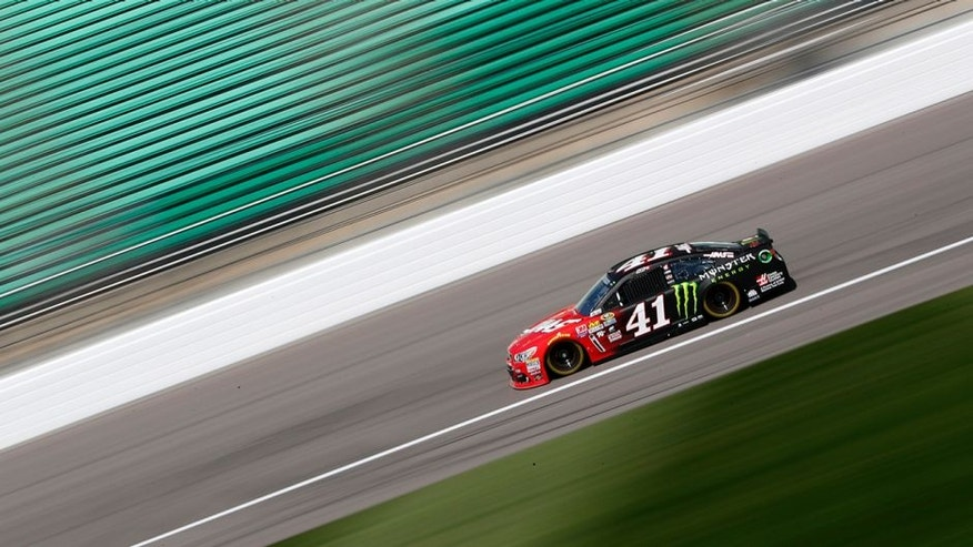 KANSAS CITY, KS - MAY 06: Kurt Busch, driver of the #41 Haas Automation/Monster Energy Chevrolet, drives during practice for the NASCAR Sprint Cup Series Go Bowling 400 at Kansas Speedway on May 6, 2016 in Kansas City, Kansas. (Photo by Jamie Squire/Getty Images)
