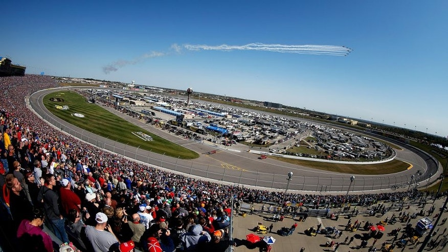 KANSAS CITY, KS - OCTOBER 18: A general view of the speedway as the KC Flight Team perform a flyover prior to the NASCAR Sprint Cup Series Hollywood Casino 400 at Kansas Speedway on October 18, 2015 in Kansas City, Kansas. (Photo by Todd Warshaw/Getty Images)