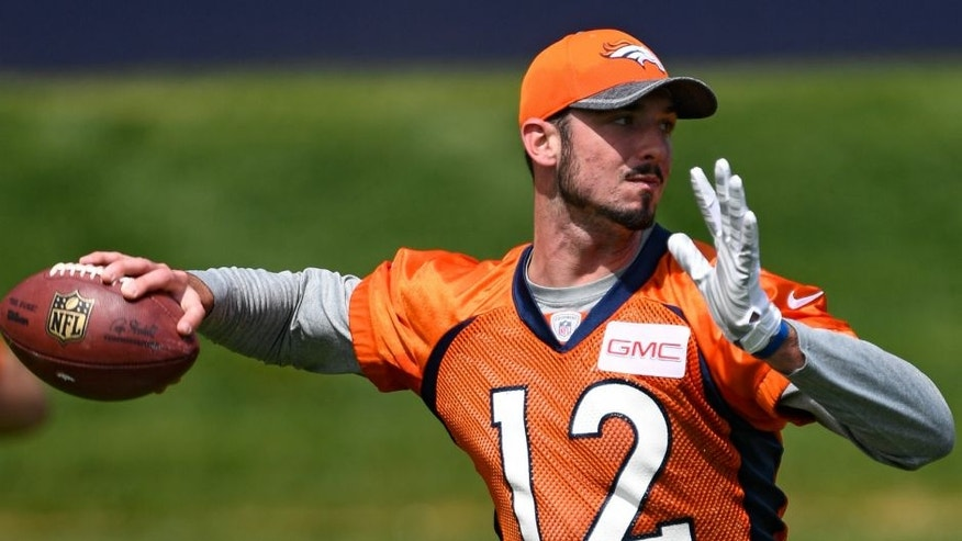 ENGLEWOOD, CO - MAY 06: Denver Broncos quarterback Paxton Lynch (12) looks to throw a pass during rookie minicamp May 6, 2016 at UCHealth Training Facility. (Photo By John Leyba/The Denver Post via Getty Images)