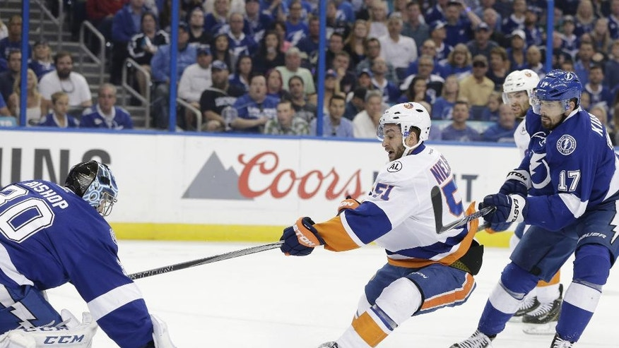 Tampa Bay Lightning's Ben Bishop (30) stops a shot on goal by New York Islanders center Frans Nielsen (51), of Denmark, as  Lightning's Alex Killorn (17) defends, during the first period of Game 5 of the NHL hockey Stanley Cup Eastern Conference semifinals Sunday, May 8, 2016, in Tampa, Fla. (AP Photo/Chris O'Meara)