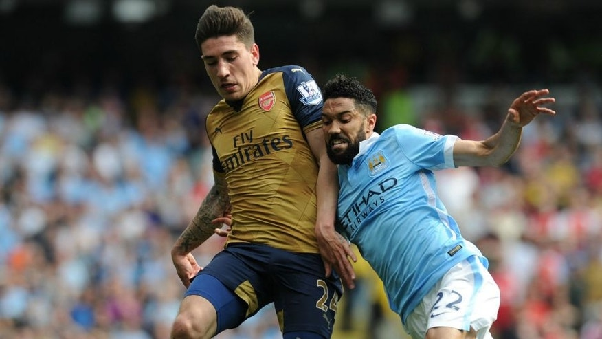MANCHESTER, ENGLAND - MAY 08: of Arsenal during the Barclays Premier League match between Manchester City and Arsenal at the Etihad Stadium on May 8, 2016 in Manchester, England (Photo by Stuart MacFarlane/Arsenal FC via Getty Images)
