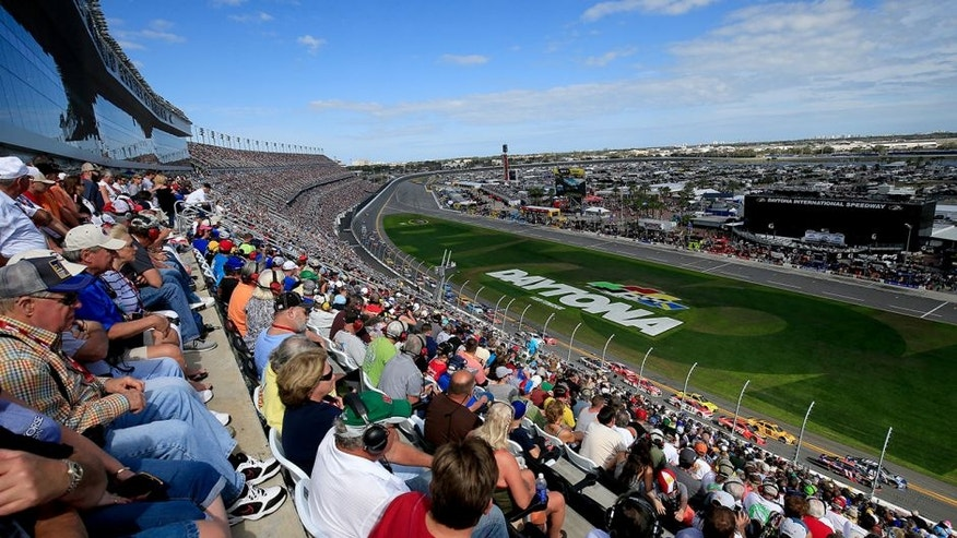 DAYTONA BEACH, FL - FEBRUARY 21: Fans look on from the grandstands during the NASCAR Sprint Cup Series DAYTONA 500 at Daytona International Speedway on February 21, 2016 in Daytona Beach, Florida. (Photo by Chris Trotman/NASCAR via Getty Images)