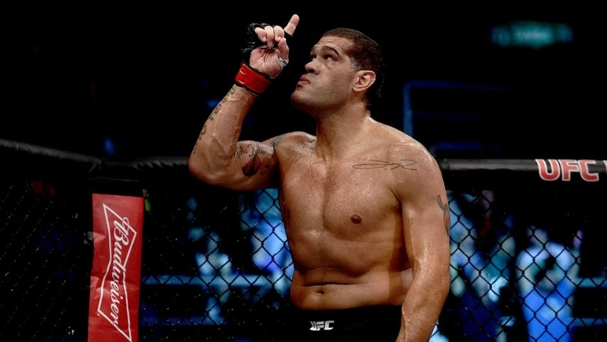 RIO DE JANEIRO, BRAZIL - AUGUST 01: Antonio Silva of Brazil celebrates victory over Soa Palelei of Australia in their heavyweight bout during the UFC 190 Rousey v Correia at HSBC Arena on August 1, 2015 in Rio de Janeiro, Brazil. (Photo by Buda Mendes/Zuffa LLC/Zuffa LLC via Getty Images)