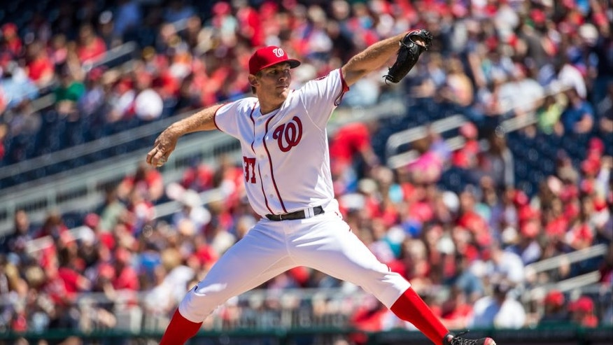 WASHINGTON, DC - APRIL 24: Stephen Strasburg #37 of the Washington Nationals pitches against the Minnesota Twins on April 24, 2016 at Nationals Park in Washington, DC. The Nationals defeated the Twins 6-5. (Photo by Brace Hemmelgarn/Minnesota Twins/Getty Images)