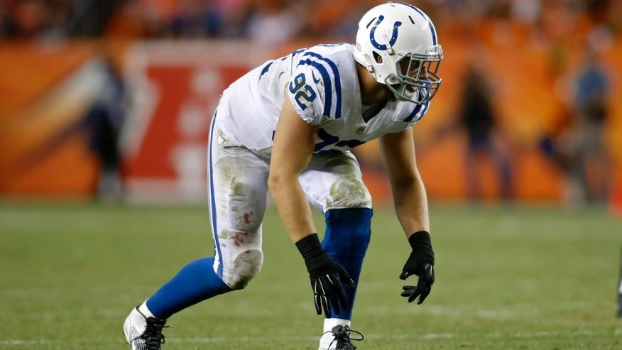 <p>Sep 7, 2014; Denver, CO, USA; Indianapolis Colts linebacker Bjoern Werner (92) during the game against the Denver Broncos at Sports Authority Field at Mile High. Mandatory Credit: Chris Humphreys-USA TODAY Sports</p>