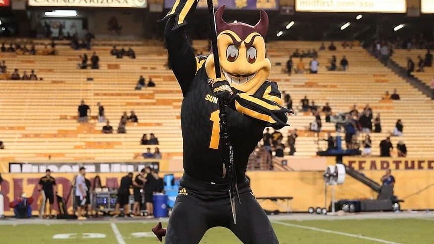 TEMPE, AZ - OCTOBER 10: Arizona State Sun Devils mascot Sparky spikes the pitchfork at center field after the college football game against the Colorado Buffaloes at Sun Devil Stadium on October 10, 2015 in Tempe, Arizona. The Arizona State Sun Devils beat the Colorado Buffaloes 48-23. (Photo by Chris Coduto/Getty Images)