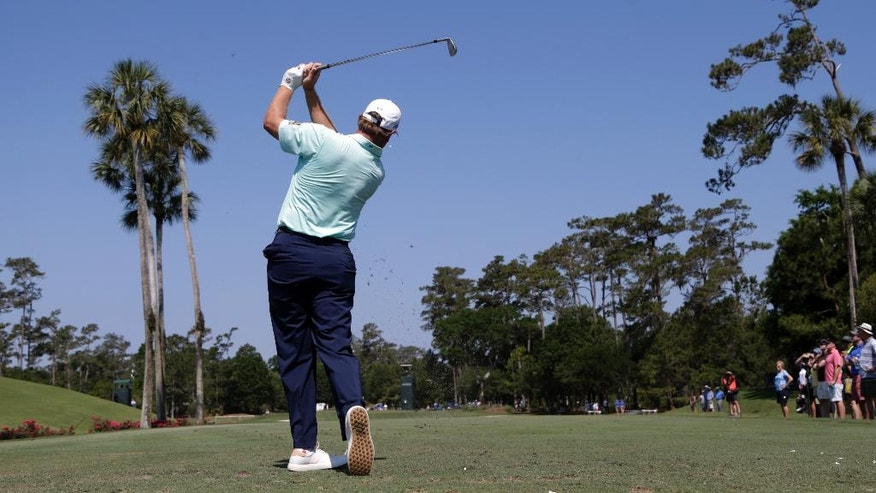 Ernie Els, of South Africa, hits from the third tee during the first round of The Players Championship golf tournament Thursday, May 12, 2016, in Ponte Vedra Beach, Fla. (AP Photo/Lynne Sladky)