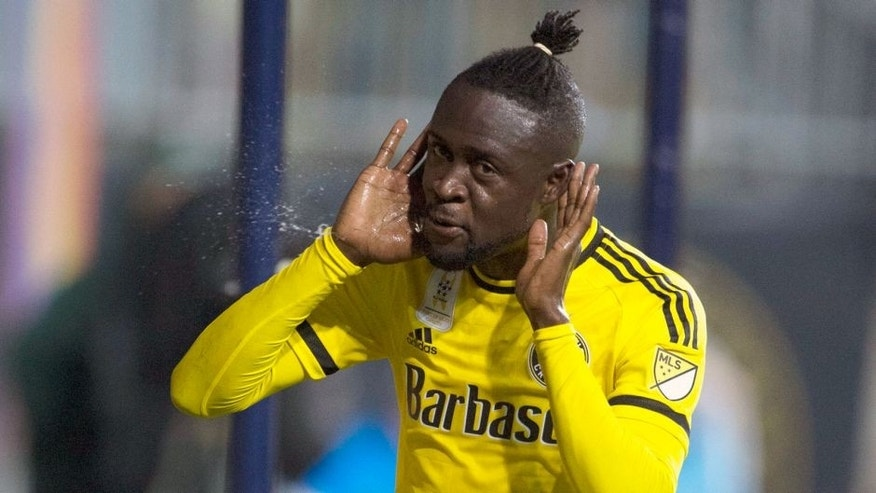 Sep 12, 2015; Philadelphia, PA, USA; Columbus Crew forward Kei Kamara (23) reacts after scoring during the first half against the Philadelphia Union at PPL Park. Mandatory Credit: Tommy Gilligan-USA TODAY Sports