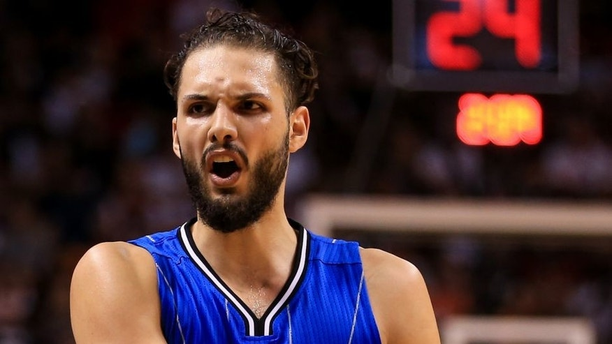 MIAMI, FLORIDA - APRIL 10: Evan Fournier #10 of the Orlando Magic reacts during the game against the Miami Heat at the American Airlines Arena on April 10, 2016 in Miami, Florida. The Heat defeated the Magic 118-96. NOTE TO USER: User expressly acknowledges and agrees that, by downloading and or using this photograph, User is consenting to the terms and conditions of the Getty Images License Agreement. (Photo by Rob Foldy/Getty Images)